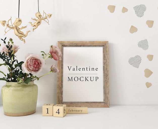 Maquete de quadro com composição de objetos do dia dos namorados