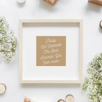 Maquete de quadro com conceito de casamento