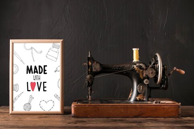 Maquete de quadro com conceito de costura
