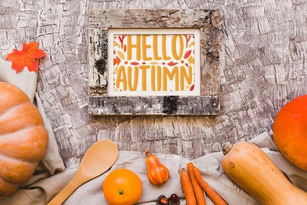 Maquete de quadro com conceito de outono