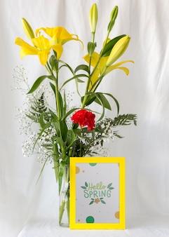 Maquete de quadro com flores da primavera