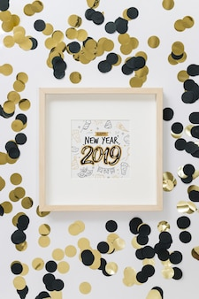 Maquete de quadro com o conceito de ano novo