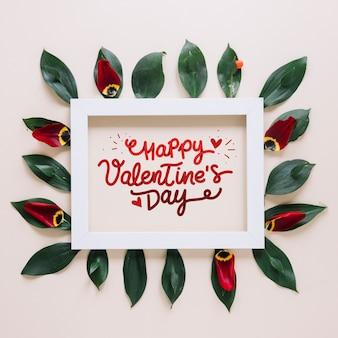 Maquete de quadro com o conceito de dia dos namorados floral