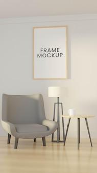 Maquete de quadro com sofá escandinavo