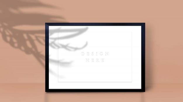Maquete de quadro com sombra de folha de palmeira. formato a4.