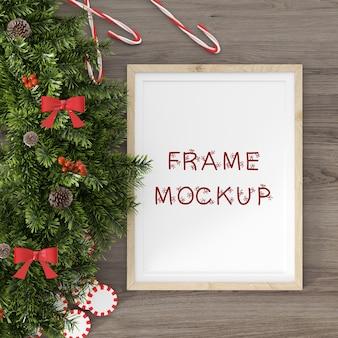 Maquete de quadro com visualização em 3d de decoração de ano novo