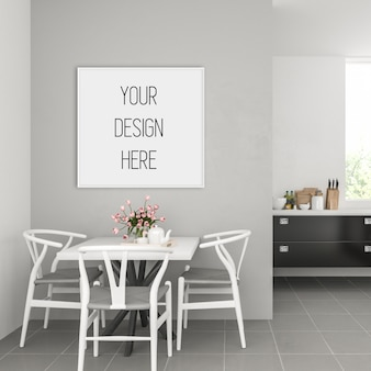 Maquete de quadro, cozinha com moldura quadrada branca, interior escandinavo