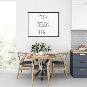 Maquete de quadro, cozinha com quadro horizontal preto, interior escandinavo