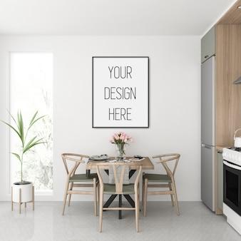 Maquete de quadro, cozinha com quadro vertical preto, interior escandinavo