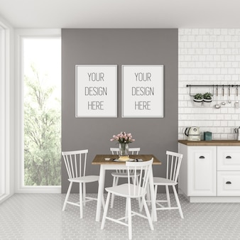 Maquete de quadro, cozinha com quadros duplos brancos, interior escandinavo