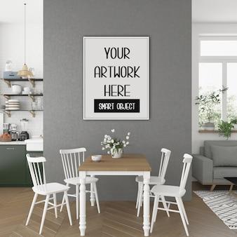 Maquete de quadro, cozinha sala com moldura vertical branca, interior escandinavo