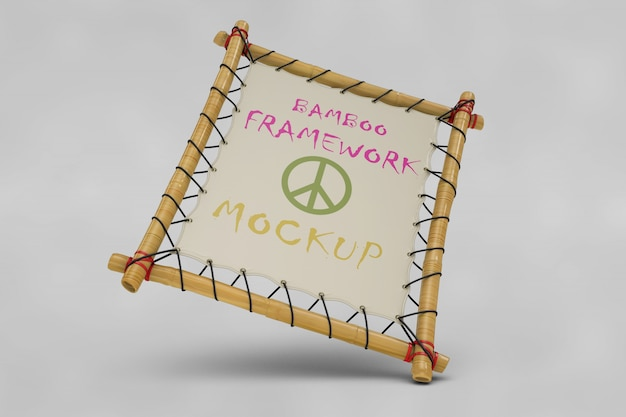 Maquete de quadro de bambu