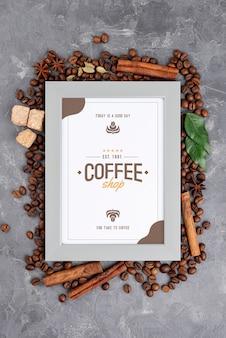 Maquete de quadro de café vista superior