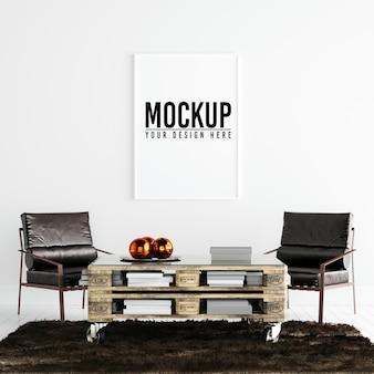 Maquete de quadro de cartaz no interior branco com decoração