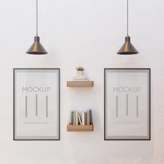 Maquete de quadro de casal na parede branca sob a lâmpada com estante de parede do livro