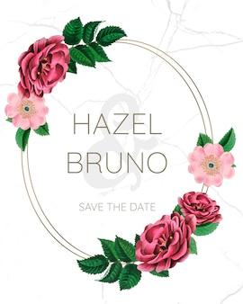 Maquete de quadro de casamento com rosas