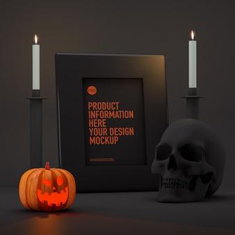 Maquete de quadro de halloween ao lado de abóboras, velas e caveira