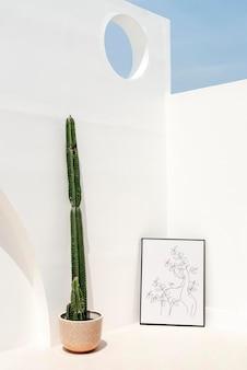 Maquete de quadro de imagem psd encostado na parede externa