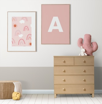 Maquete de quadro de imagem psd pendurado no interior da decoração da casa do quarto das crianças