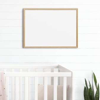 Maquete de quadro de imagem psd pendurado no interior da decoração da casa do quarto do berçário