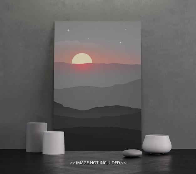 Maquete de quadro de lona monocromática no chão - preto e branco
