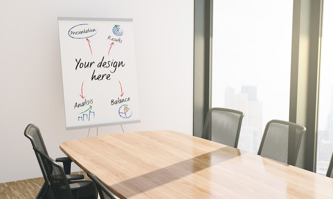Maquete de quadro de negócios de apresentação em papel na sala de conferências