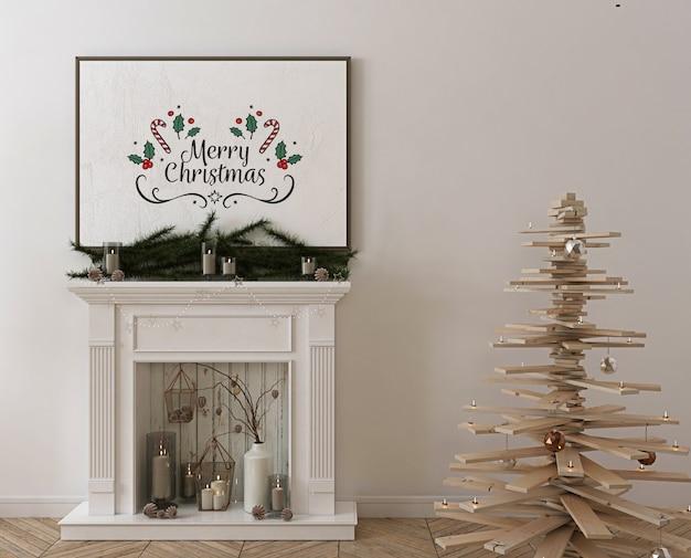 Maquete de quadro de pôster com árvore de natal de madeira, decoração e presentes