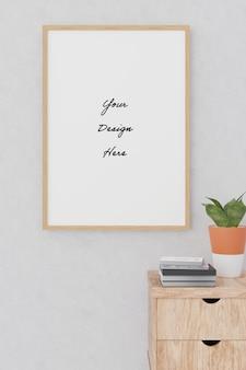 Maquete de quadro de pôster de retrato no estilo minimalismo de parede de cimento concreto
