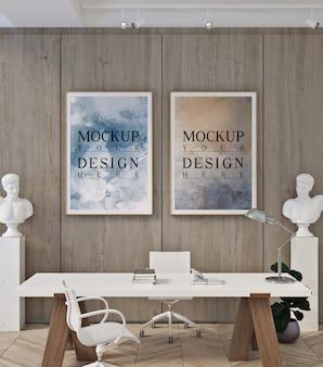 Maquete de quadro de pôster em escritório moderno e contemporâneo
