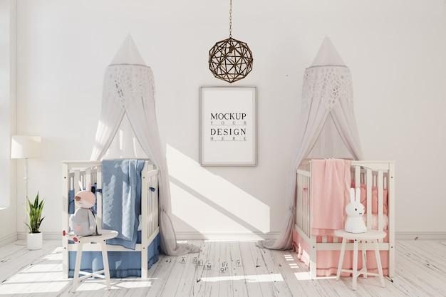 Maquete de quadro de pôster em um moderno berçário