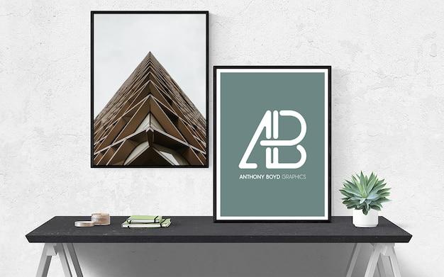 Maquete de quadro de pôster na parede com planta