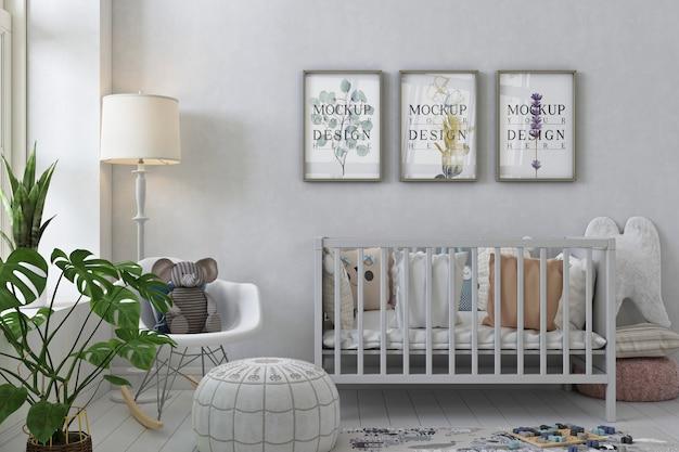 Maquete de quadro de pôster no interior da sala do berçário