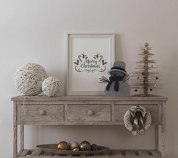 Maquete de quadro de pôster no interior vintage com árvore de natal e decoração