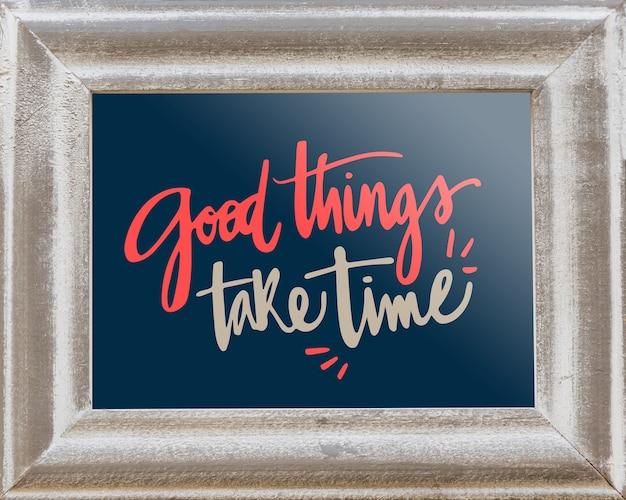 Maquete de quadro decorativo com conceito de citação