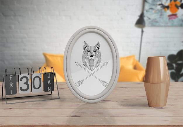 Maquete de quadro decorativo na mesa em casa
