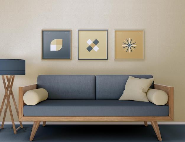 Maquete de quadro e sofá na sala de estar