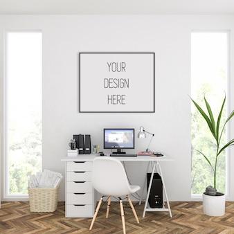 Maquete de quadro em escritório em casa com moldura horizontal preta