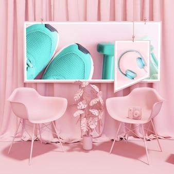 Maquete de quadro em estilo pop rosa