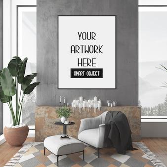 Maquete de quadro em sala com moldura vertical preta
