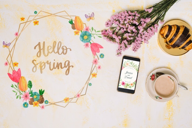Maquete de quadro floral para a primavera