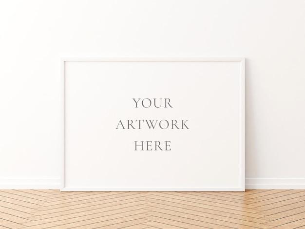 Maquete de quadro horizontal branco no chão de madeira. renderização 3d.