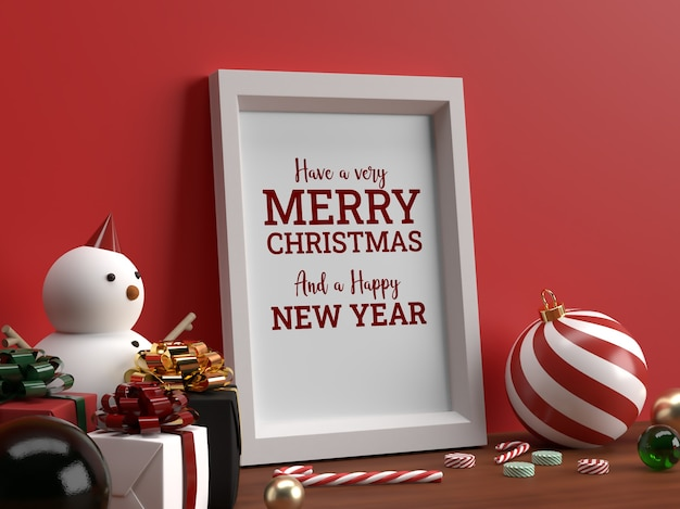 Maquete de quadro horizontal de foto de natal com cena realista