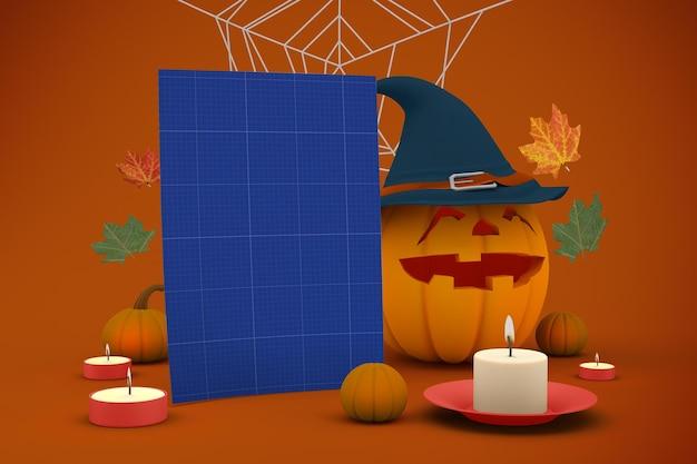 Maquete de quadro indicador de halloween