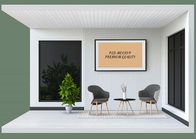 Maquete de quadro mostrar interior moderna sala de estar