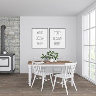 Maquete de quadro na cozinha vintage com quadros verticais duplos pretos