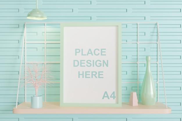 Maquete de quadro na mesa de parede, 3d renderizado em cor pastel