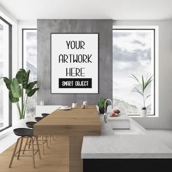 Maquete de quadro na parede do quarto