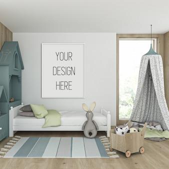 Maquete de quadro na sala de crianças com moldura vertical brancos