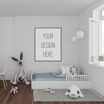 Maquete de quadro na sala de crianças com moldura vertical preta
