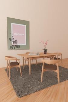 Maquete de quadro na sala de estar